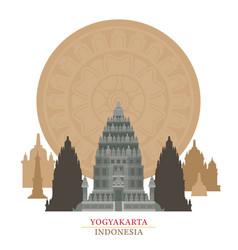 Prambanan yogyakarta indonesia with decoration vector