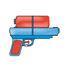 Toy water gun plastic play funny icon vector