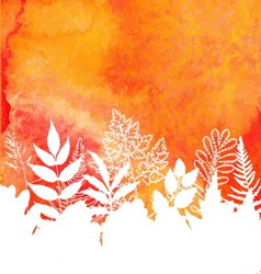Orange watercolor painted autumn foliage vector