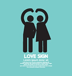 Man and woman with love sign gesture vector
