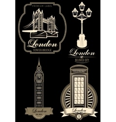 Set premium labels from london attractions vector