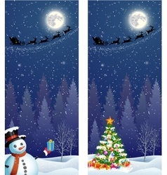 Cute snowman on the background of night sky vector