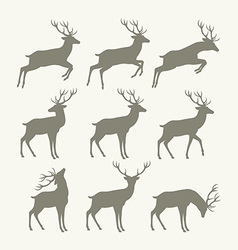 Christmas reindeer silhouettes vector