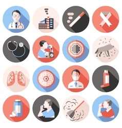 Asthma Icons Flat Set vector image