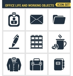 Icons set premium quality of business items vector