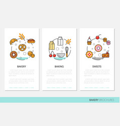 Bakery and desserts business brochure template vector