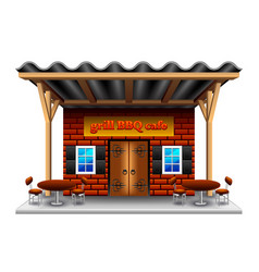 Barbeque grill cafe isolated on white vector