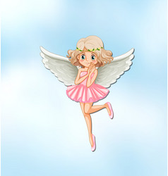 Beautiful angel with wings in the sky vector