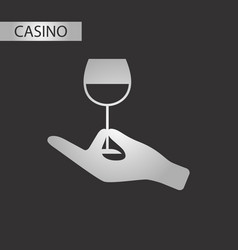 black and white style glass of wine vector image vector image
