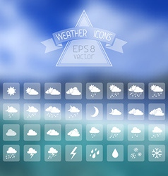 Blur landscape with weather icons vector