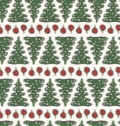 Christmas seamless pattern with fir trees vector