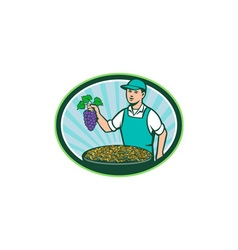 Farm Boy Holding Grapes Bowl Raisins Oval Retro vector image vector image