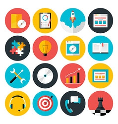 Flat icons collection of web design objects vector image