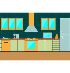 Flat kitchen interior cabinets accessories vector