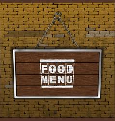 food menu old brick wall wood sheet vector image