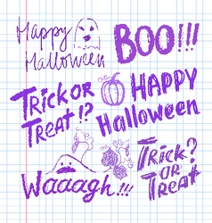 Halloween ink hand drawn lettering collection vector