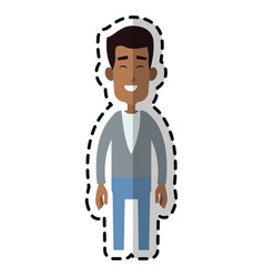 handsome happy dark skin man cartoon icon image vector image vector image