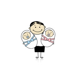 Happy mother with newborn twins vector image