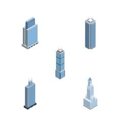 Isometric skyscraper set of cityscape skyscraper vector