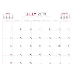 july 2018 calendar planner design template week vector image