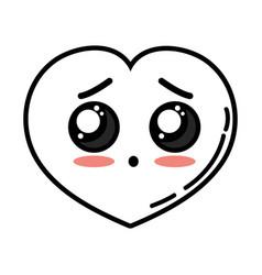 Kawaii cute surprised heart love vector