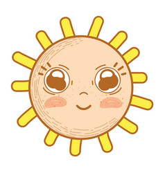 kawaii happy sun with cute eyes and cheeks vector image vector image