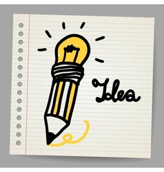 Light bulb pencil and good idea vector