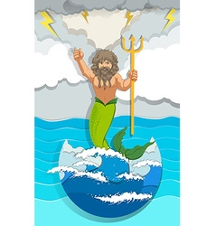 Male mermaid holding trident vector