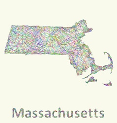 Massachusetts line art map vector
