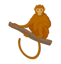 Monkey sitting on a branch icon cartoon style vector
