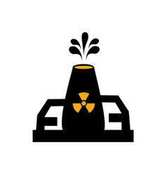 Monochrome silhouette with nuclear reactor symbol vector