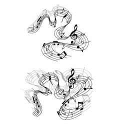 Musical compositions with notes vector image