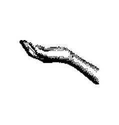open right hand palm up 8 bit minimalistic pixel vector image vector image