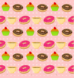 seamless pattern with colorful donuts vector image vector image