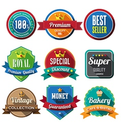 Set of retro vintage badges and labels 05 flat des vector