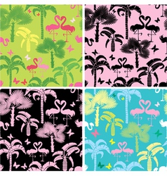 Set of seamless patterns with palm trees butterfl vector