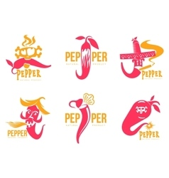 Set pink and orange of chili pepper logo vector