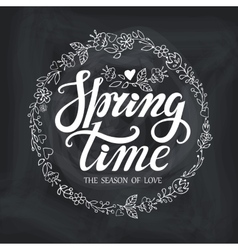 Spring time letteringdoodle floral wreath vector