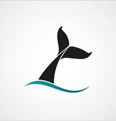 whale tail wave logo sign emblem on white vector image vector image