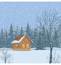 Winter Landscape Rustic House vector image vector image
