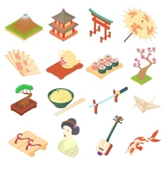 China traditional culture icons set cartoon style vector