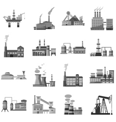 Factory icons set gray monochrome style vector