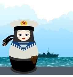 Matryoshka military seaman vector