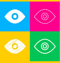 Eye sign  four styles of icon on four vector