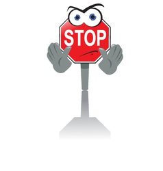 Angry stop sign vector