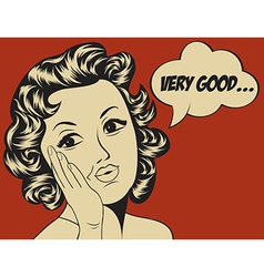 Cute retro woman in comics style with message vector