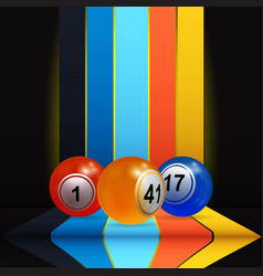 3d bingo lottery nalls over vertical stripes and vector