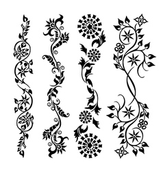 Set black swirl floral pattern vector