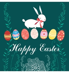 Easter card with rabbit and eggs vector