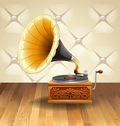 Gramophone with recorder on it vector